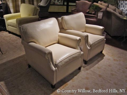 White Leather Chairs With Nail Heads  Country Willow Furniture
