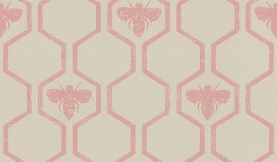 Honey Bees Rose (BG0700202) - Barneby Gates Wallpapers - An all over, geometric trellis wallpaper design featuring motif's of honey bee's. Shown here in the rose colourway. Please request a sample for a true colour match.