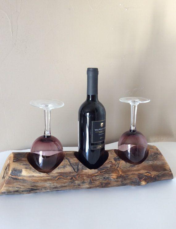 Wooden wine and glass rack in Aspen by AspenBottleHolders on Etsy