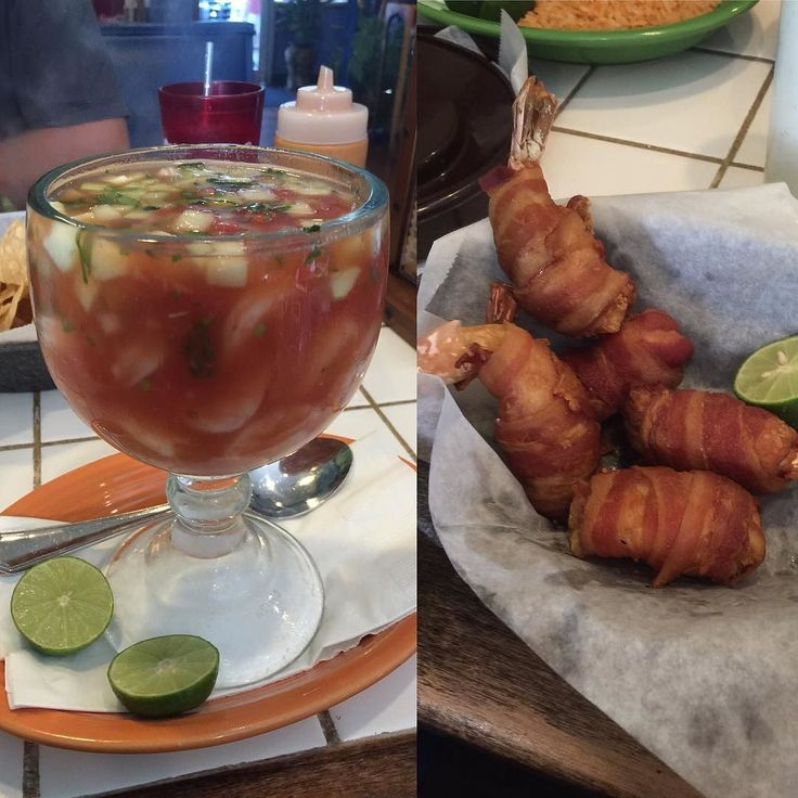 Lunch. Shrimp cocktail and bacon wrapped shrimp stuffed with crap!  by lowcarbkristen