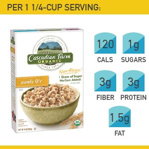 7. Cascadian Farms Purely O's #cereal #breakfast http://greatist.com/health/best-healthy-cereal-brands
