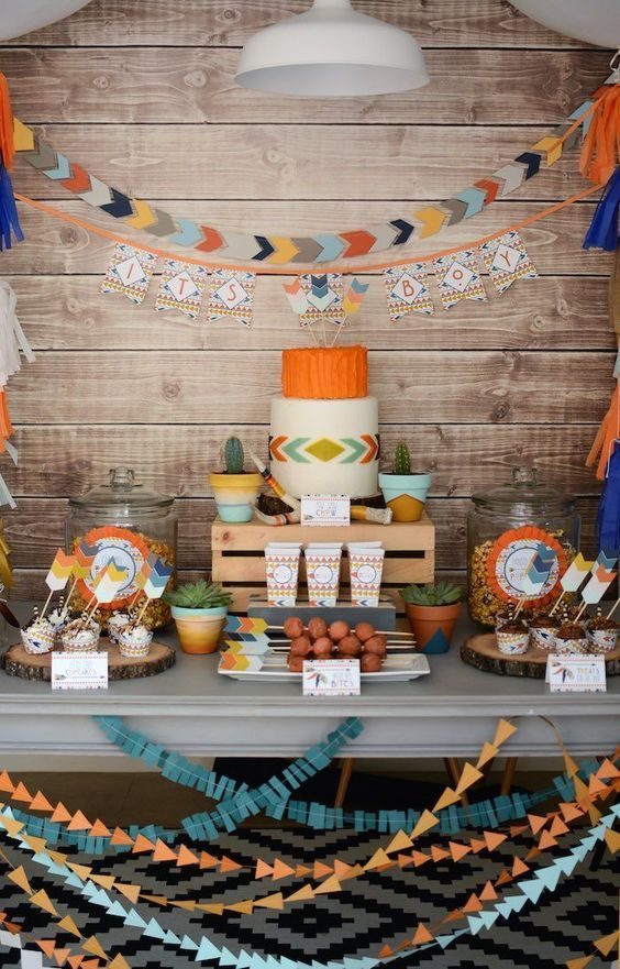 Little warrior, modern Aztec, tribal, whatever you like to call it, it's oh so cute! Deck out your party with feathers, arrows, antlers, bold geometric shapes, and a natural earthy vibe that is ideal for a boy, girl or gender neutral baby shower. | via Kara's Party Ideas