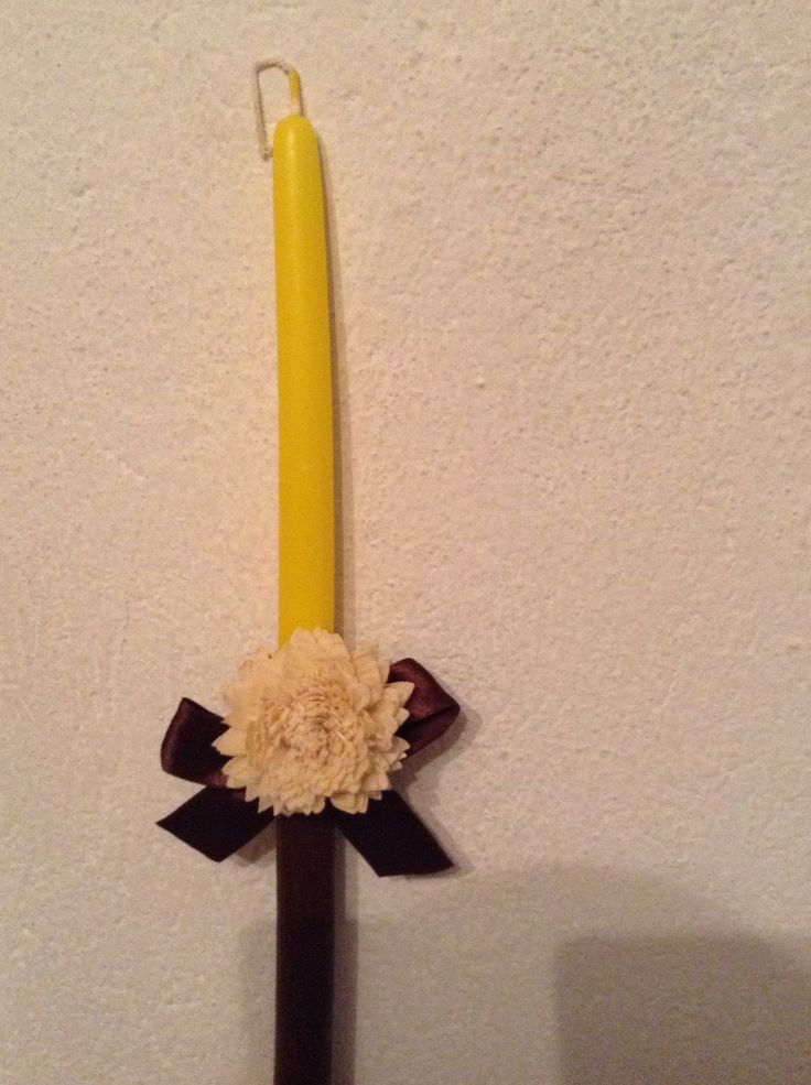 Handmade Easter candle yellow and brown candle with cream flower