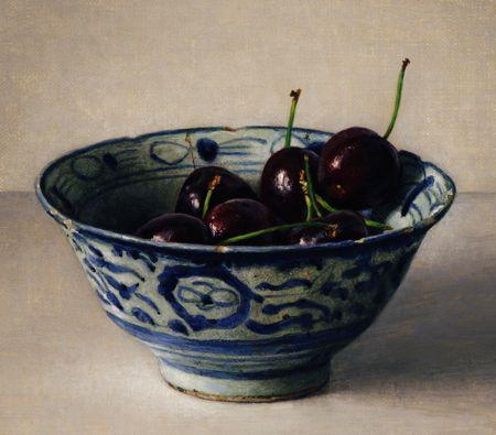 Cherries in Bowl, 2011, oil on canvas by Karl Zipser