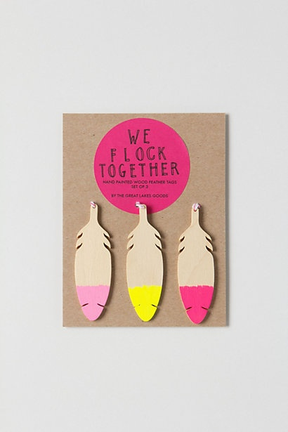 Wooden Feather Gift Tag Set from Anthropologie - $12.00 Be You Bravely Mops