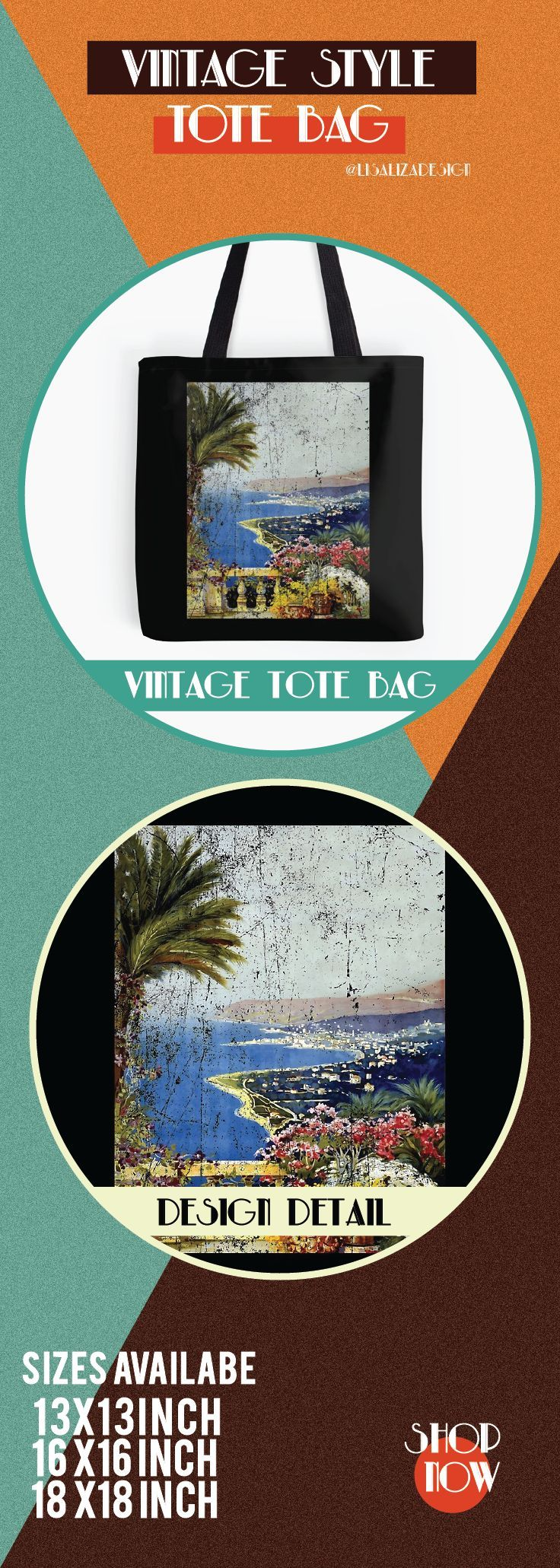 Vintage Travel Poster, Aged and Weathered - Sanremo.  ToteBags  A collection design inspired by vintage travel and advertisements posters  from the late 19th century printed on durable tote bags. 3 Sizes available.  Excellent gift ideas for vintage lovers and everyone. #vintage #hugs #holidaygift #oldies #homedecor #retro #travelposter #totebag #redbubble #teepublic #lisalizadesign #vintageposter #oldies