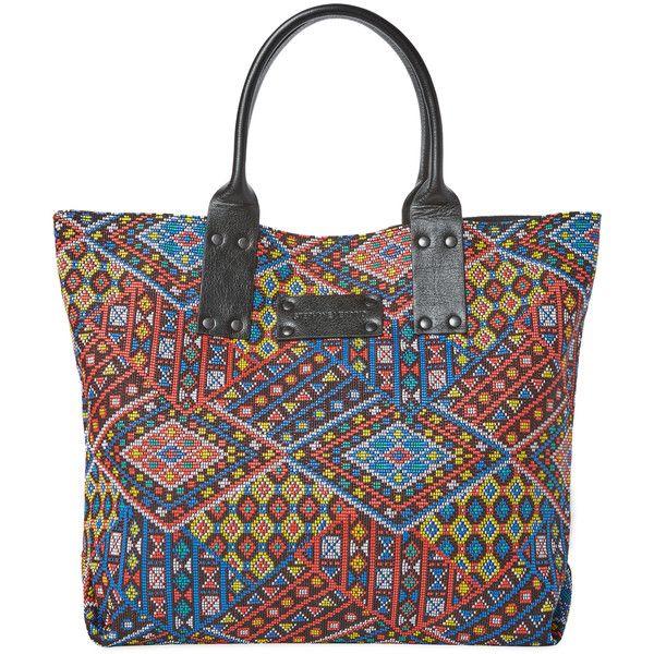 STEPHANE VERDINO New Cabas Aztec Medium Tote featuring polyvore, women's fashion, bags, handbags, tote bags, multi, stephane verdino, aztec print purse, aztec tote, aztec tote bag and aztec purse