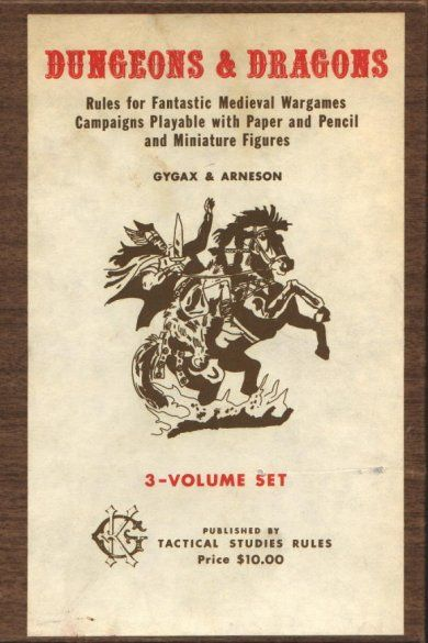 Original 1st Printing of Dungeons and Dragons, released in 1974. Has woodgrain striations on the box. The artwork was later changed on the 4th edition to a wizard. It all began here:)