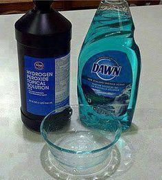 Do you have spots on your clothes from food u just can't get out?  Use this miracle paste: 1 tsp original blue Dawn + 3-4 T hydrogen peroxide + 2-3 T baking powder.  Scrub on pre- moistened stained fabric.  Don't want use hydrogen peroxide?  Try straight blue Dawn on your pre-moistened stain!  Scrub a little and put inthe wash!