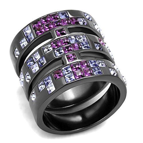 Multi-Color-Princes-cut-CZ-long-316-Stainless-Steel-light-black-finish-20mm