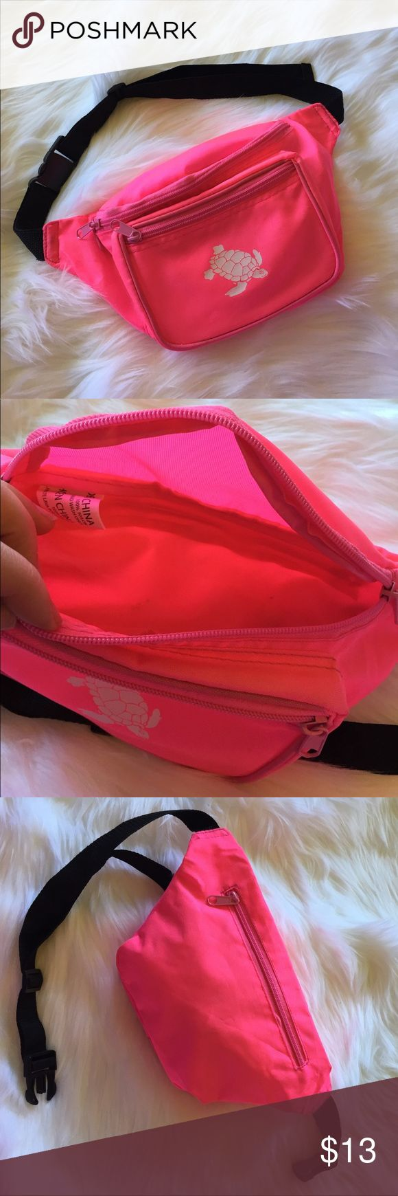 "Hot Pink Turtle Fanny Pack How cute is this? This is a very well made fanny pack with 3 different zippered pockets and an adorable turtle on the front. Waist strap is adjustable from tiny to big. No flaws or stains on material. Looks new! Worn a couple of times. 12"" across at widest part where belt connects. This has quite a bit of room. Bags Satchels"