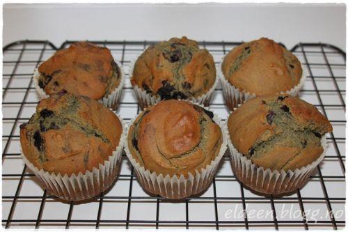 Banan-, peanøtt- og blåbærmuffins uten melk og gluten. (~Eldeen~)