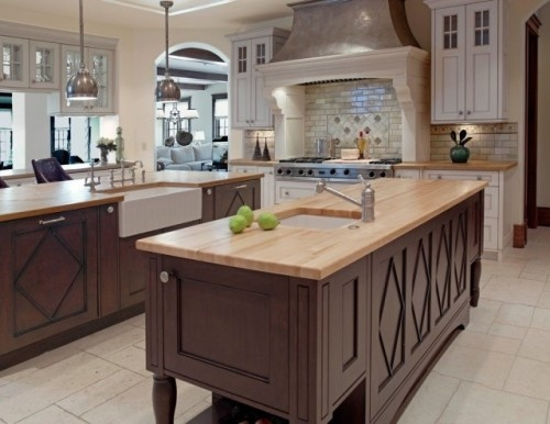 Dark Islands Light Wall Cabinets Butcher Block Counters