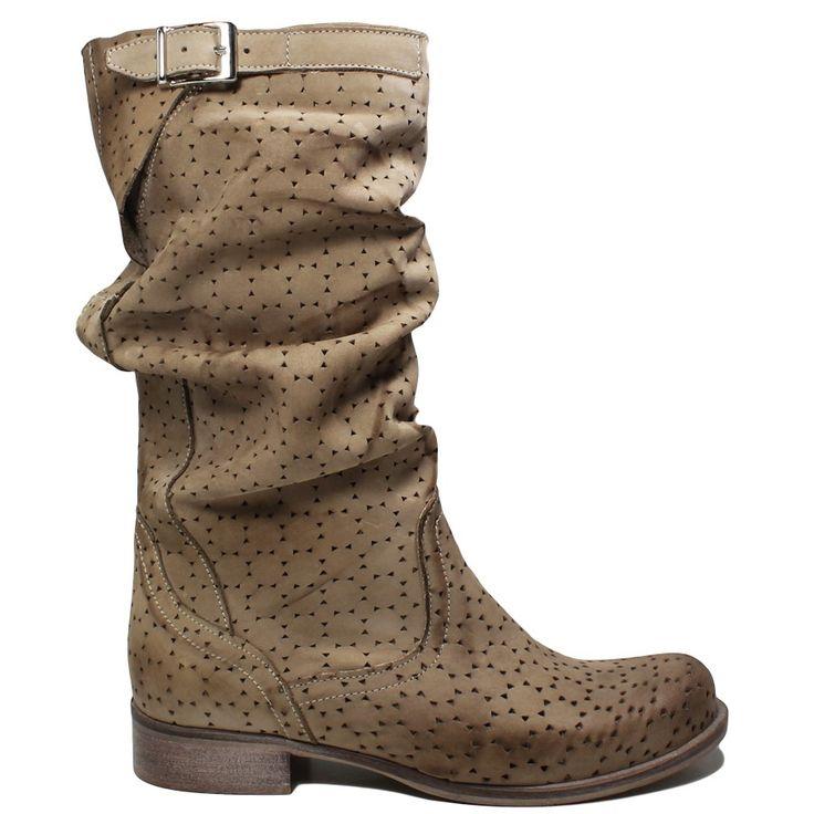 Stivali Biker Boots in Vera Pelle Nabuk traforata spazzolata Vintage, color Taupe.