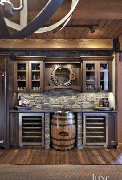 Wine barrel sink bar