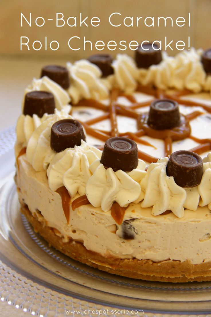 No Bake Caramel Rolo Cheesecake - made using whipping cream, cream cheese, caramel and a few other ingredients we all have on hand, poured into a cookie crust and chilled overnight - Jane's Patisserie