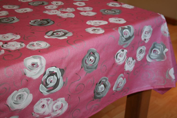 Pink Background with silver and white roses. www.dmgdesigns.co.za . Wipe clean