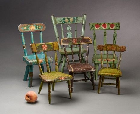 A Group of Six Miniature Chairs Each retaining the original painted and  decorated finish. Ranging in height from inches, Pennsylvania, ca. - 198 Best Antique Dolls House Furniture Images On Pinterest