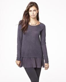 Tunic sweater with chiffon knifs pleats