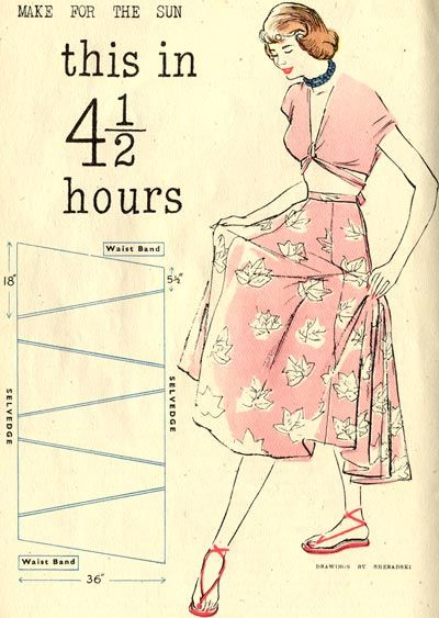 This British blog has all sorts of free vintage sewing, knitting, and crochet patterns.  Many of these could be altered to be zero-waist.  Such clear instructions. :)