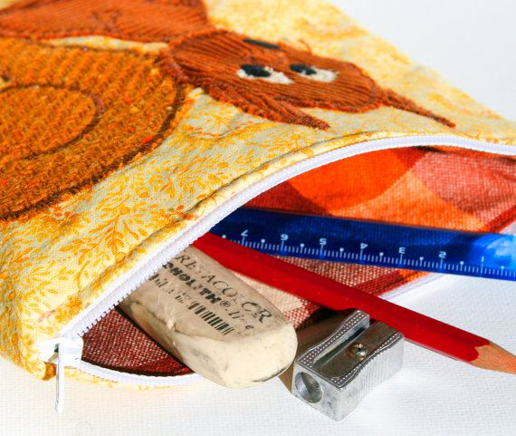 Cute Squirrel Zipper #Pouch, handmade in Norway