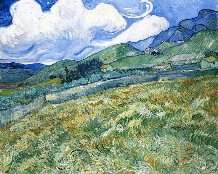 Van Gogh - Wheatfield and Mountains 1889