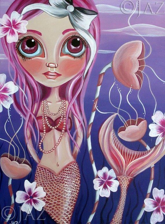 Big ART PRINT - The Mermaid's Garden  - by Jaz - 12x16