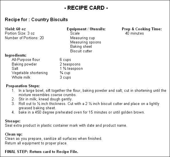 recipe cost card template