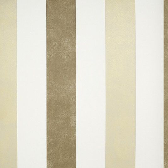 Streets Wallpaper A wallpaper with bold rag roll style printed stripes of semi reflective bronze and gilver on a white background.