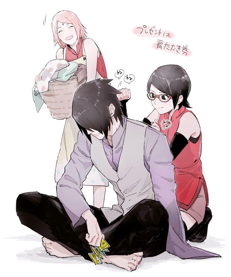 Tags: Fanart, NARUTO, Haruno Sakura, Uchiha Sasuke, PNG Conversion, Tumblr, Uchiha Clan, Uchiha Sarada, Kawara