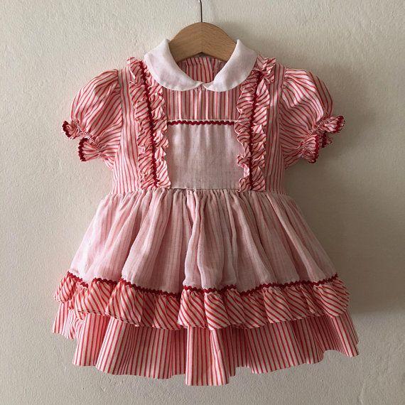 Vintage Baby Girls Dress Vintage Ruffle Dress Size 12 Months Vintage Kids Clothes Baby Girl Dress Girls Dresses