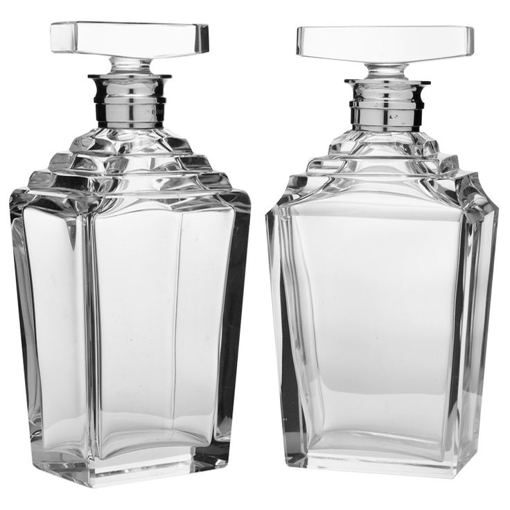 Art Deco Decanters By Asprey & Co. 1938 - english silver & glass - LENGTH: 5 in. (13 cm) DEPTH: 3 in. (8 cm) HEIGHT: 9.5 in. (24 cm) - REFERENCE NUMBER: LU9534762614