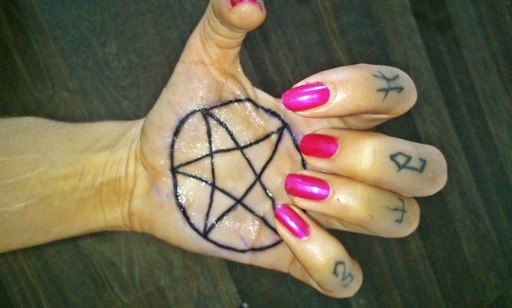 hand tattoos nails love pink hate pentagram satan pink evil