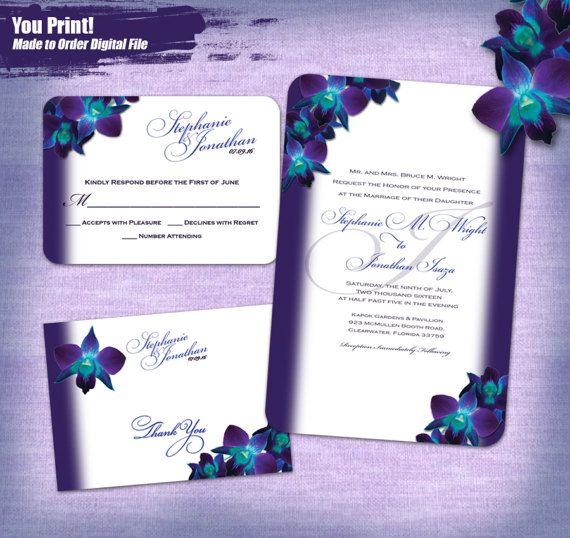 Design: Blue Orchid Printable Wedding Invitation Set (Envelopes slide 4&5 sold separately)   ≈ ≈ ≈ ≈ ≈ ≈ ≈ ≈ ≈ ≈ ≈ ≈ ≈ ≈ ≈ ≈ ≈ ≈ ≈ ≈ ≈ ≈ ≈ ≈ ≈ ≈ ≈ ≈ ≈ ≈ ≈ ≈ ≈ ≈ ≈ ≈ ≈ ≈ ≈ ≈ ≈ ≈ ≈ ≈ DIGITAL INVITATION PACKAGE YOU PRINT ≈  This digital file is made to order with your personalized information. This listing does not include any printing that would be shipped to you. You can print at home or take to you local printer and print as many pieces as you need. These files are not editable, and this ...