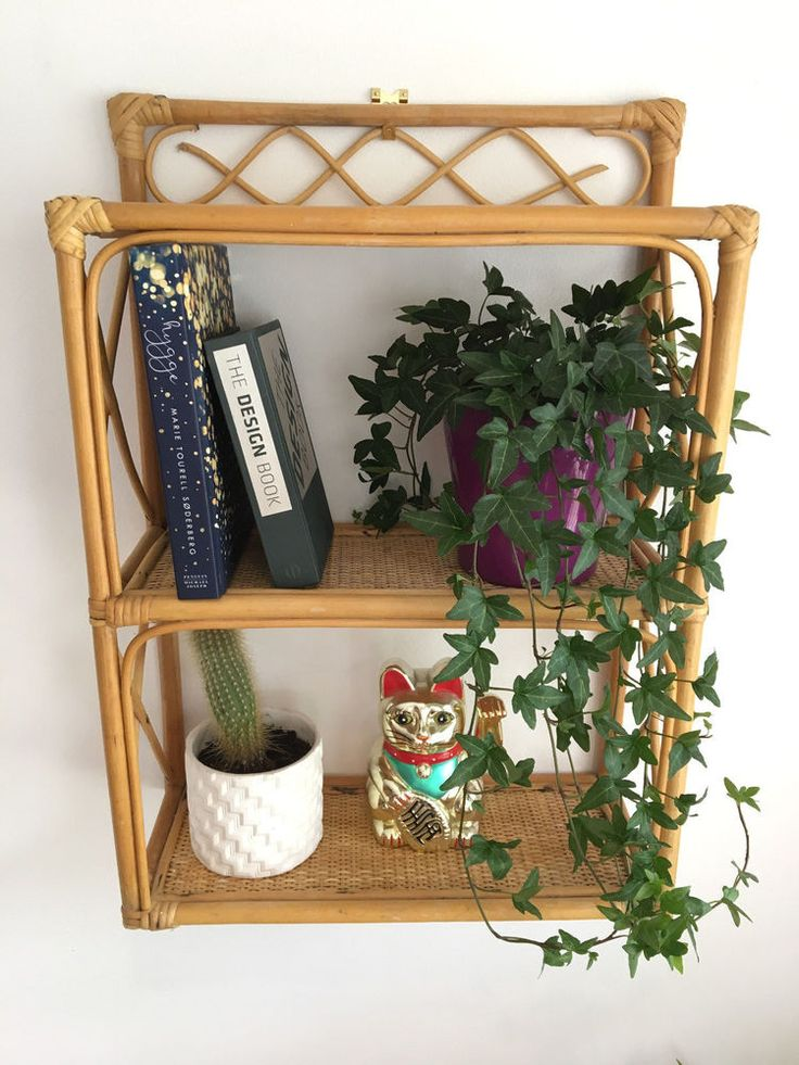 Vintage Retro Wicker Bamboo Rattan Wall Hanging Shelf Unit