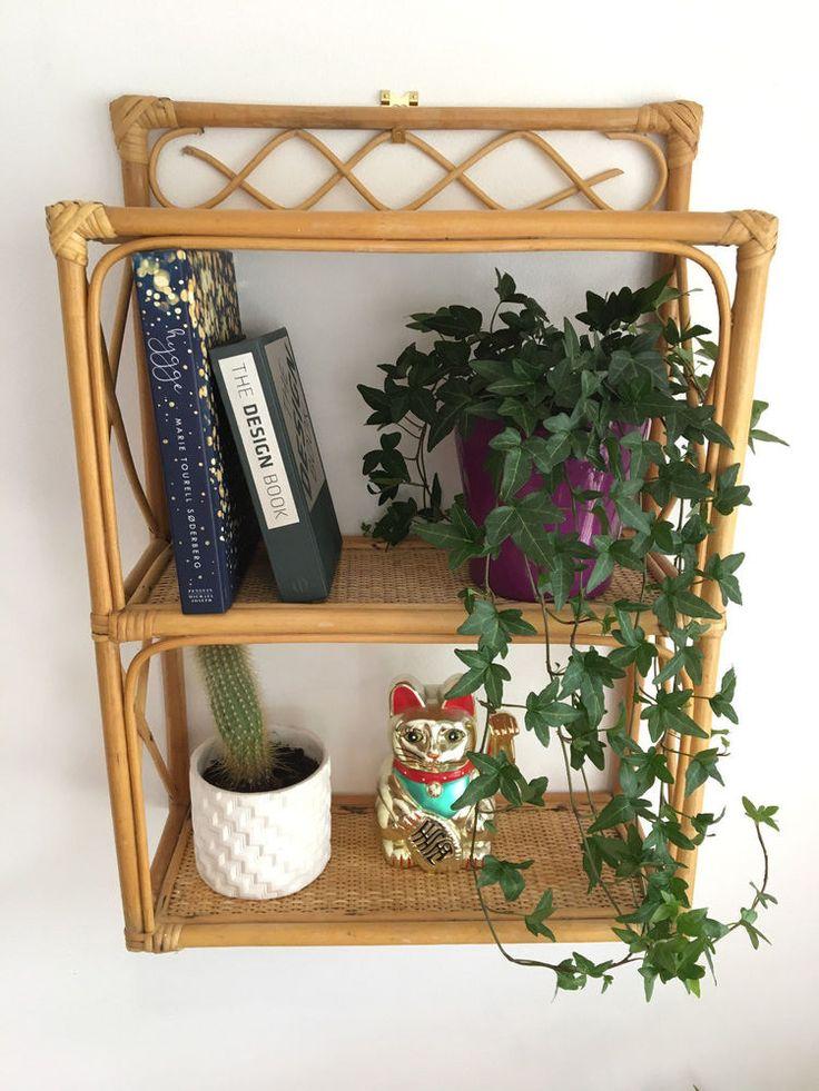 Vintage Retro Wicker Bamboo Rattan Wall Hanging Shelf Unit