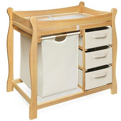 This Sleigh Style Changing Table Helps Keep Everything In