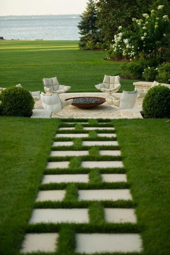 allées de jardin, allée longue menant vers la maison #Gardendesign