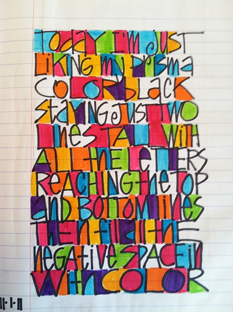 Fun & Colorful!... I like that this is done on plain old notebook paper.  :)    By Joanne Sharpe