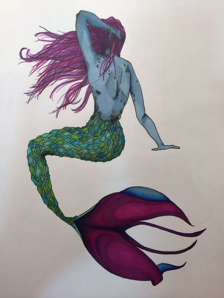 A4 mermaid with Promarkers