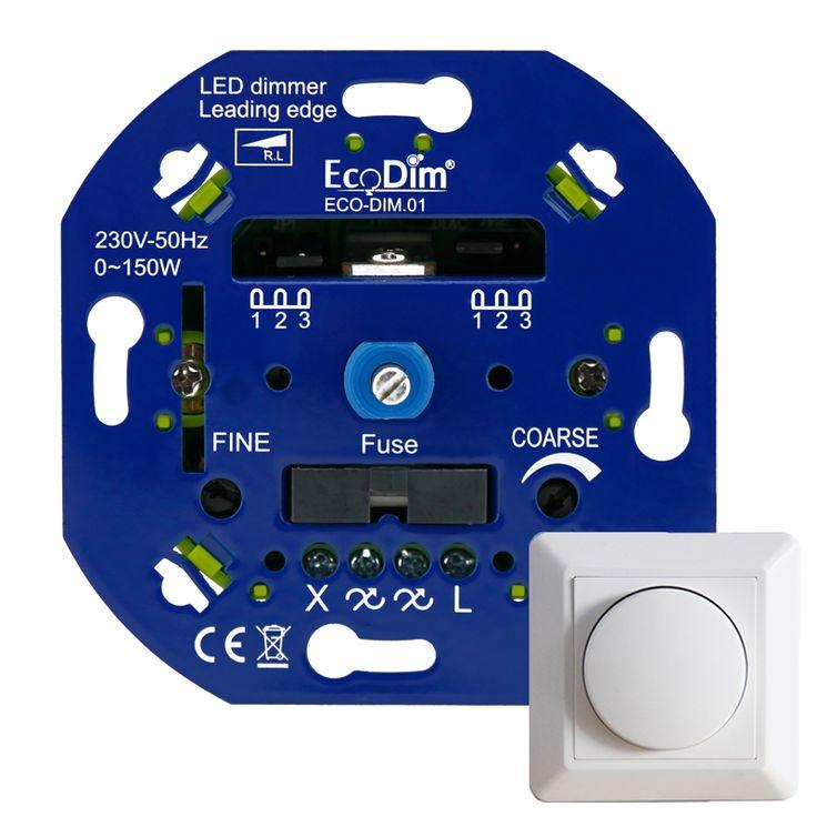Led dimmer inbouw 230V, voor alle afdekramen, 0-150W (fase aansnijding)