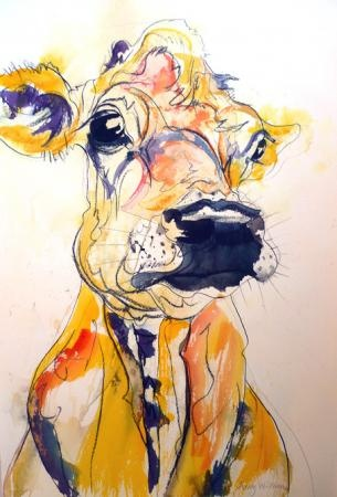 Obsessed with cow art and do not know why. by amy williams
