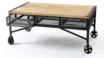 Tribeca Industrial Mesh Drawer Caster Wheel Coffee Table - eclectic - coffee tables - Kathy Kuo Home