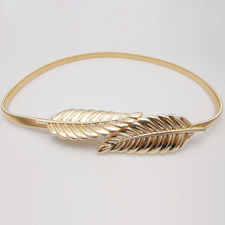 Vintage Women Belt Leaf Design Clasp Front Stretch Metal Waist Belt Skinny Elastic Ceinture Cinturones Mujer Gold Silver