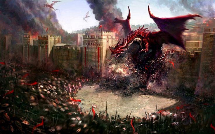 1680x1050 Wallpaper dragons, city, wall, destruction, soldiers, defense
