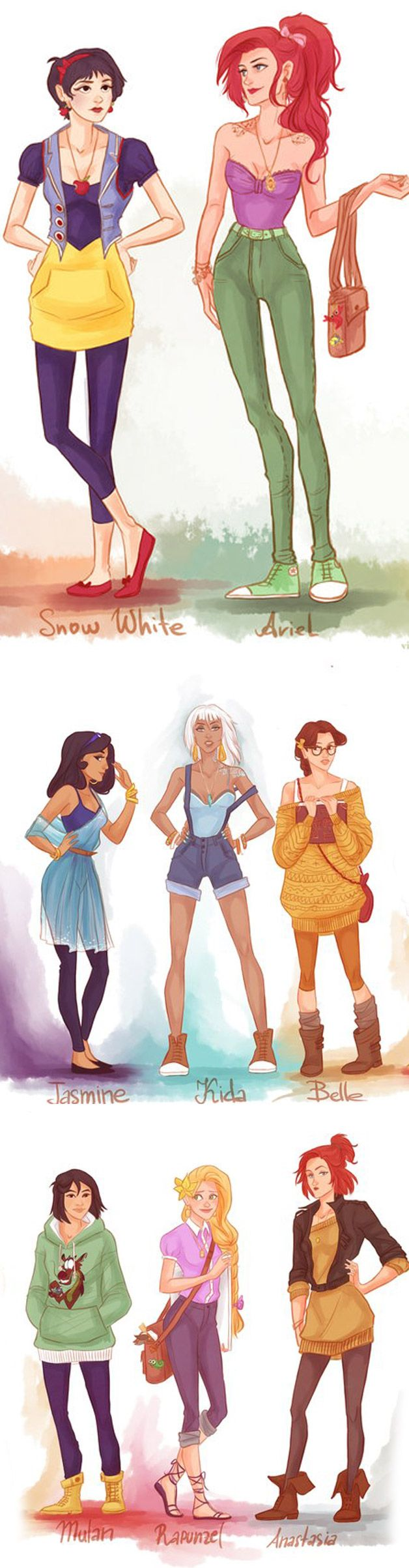 Princesas Disney nos dias atuais.