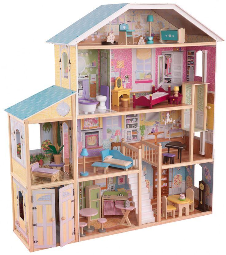 KidKraft Dukkehus Majestic Mansion er et stort dukkehus med hele 4 etasjer. Til huset inngår 34 dukkemøbler og tilbehør, blant annet en stor klokke og en søt liten kattunge. Lekehuset har 8 rom med åpne flater barna kan dekorere, er 1, 3 meter bredt og 1, 35 meter høyt og rommer dukker som er opp til 30 cm høye. <br><br>KidKraft Dukkehus Majestic Mansion er ustyrt med: <br><br>- En heis mellom andre og tredje etasje. <br>- En garasje med dører som kan åpnes og lukkes. <br>- Brede vinduer på…