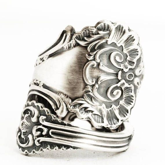 Victorian Spoon Ring Lace Ring Sterling Silver Spoon Ring