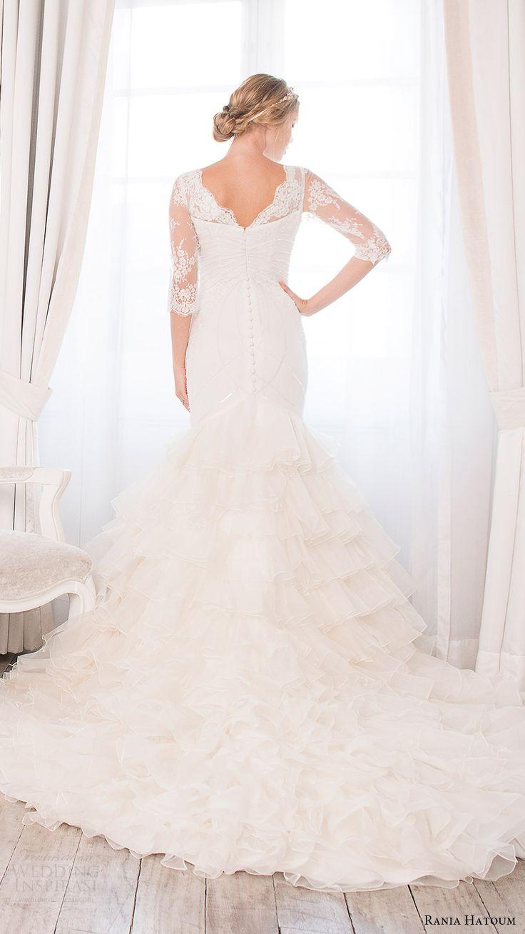 rania hatoum bridal spring 2017 illusion 3 quarter sleeves bateau neckline mermaid wedding dress (carrie) bv ruffle skirt train