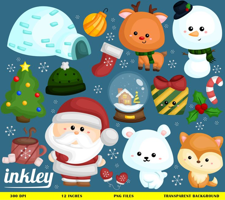 Ready to use Snowy Christmas and clipart for personal and commercial use.
